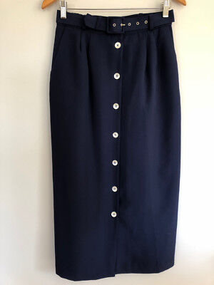 1970s Vintage SKIRT M midi Blue Pearl buttons straight pencil self Belt