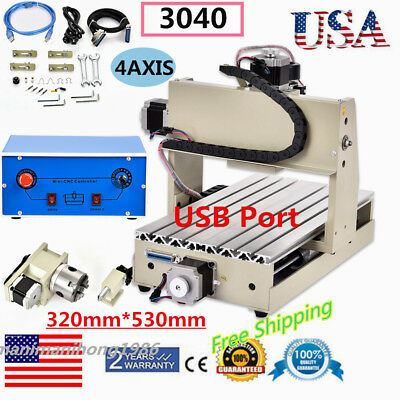 4 Axis3040 Usb Cnc Router Engraver Engraving Cutter T-Screw Desktop Cutting Usa