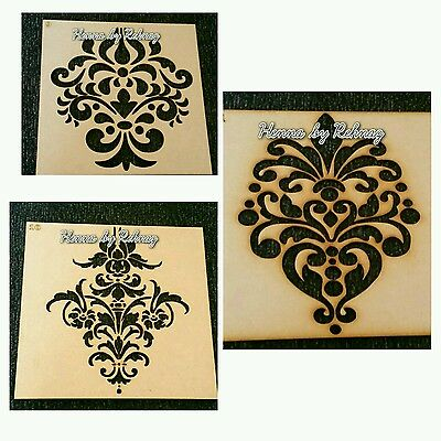 Damask wooden stencil x 3, templates, art & crafts, art decor, painting, canvas