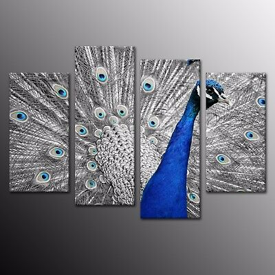 Animals HD Print on Canvas Painting Home Decoration Wall Art Blue Peacock 4pcs