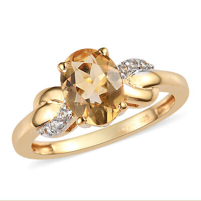 Sterling Silver 14K Yellow Gold Plated Citrine Zircon Fine Ring Cttw 1.2