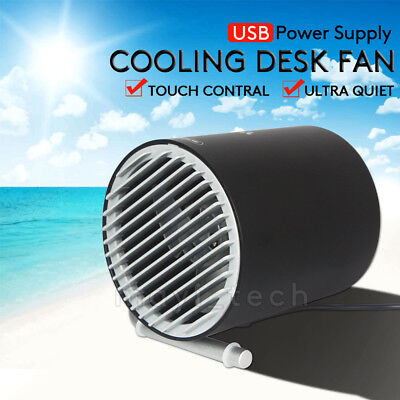 AU Mini Ultra Quiet Portable Rotatable Touch Control USB Cooling Desk Fan New