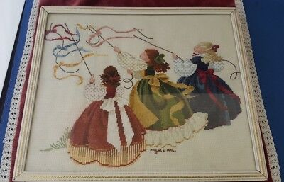 Lavender & Lace Catching The wind completed cross stitch in frame  FREE P*P UK