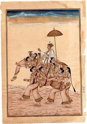 Miniature painting Mughal King Seated Fancy Camel HandMade Old Paper Painting