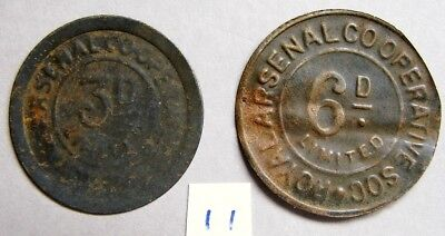 2 x SCARCE ROYAL ARSENAL COOP TIN TOKENS 3 & 6  OLD PENCE &  ISSUED - EARLY 50's