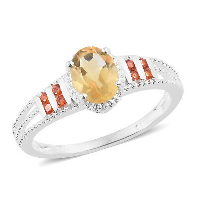 New 925 Sterling Silver Oval Citrine, Cubic Zircon Orange Ring Size 9 Cttw 1.4