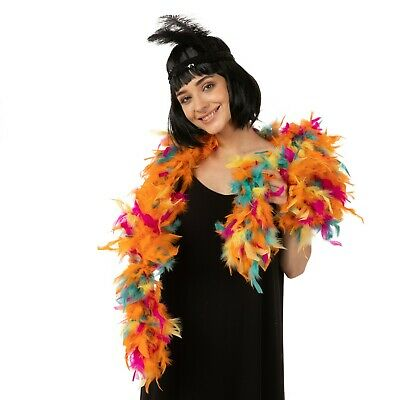 Deluxe Unique Multicolored Rainbow Feather Boa 95G 1.2 Meters Fancy Dress 1920