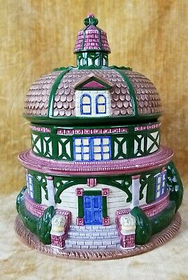 Vintage Victorian House Cookie Jar Porcelain China 1995 Exclusive For MPD NY