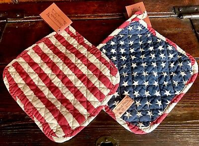 Set of 2 POTHOLDERS Primitive Country Americana STARS & STRIPES Red Blue NWT