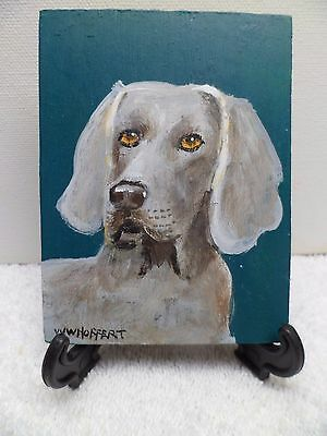 Weimaraner - Hand Painted On Tile With Easel By Artist W. W. Hoffert