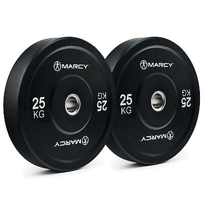 Marcy Olympic Rubber Bumper Weight Plates - For Power, Strength & Weight Lifting