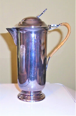 Roden Bros. Silverplate Hot Milk Pitcher with Hinged Lid Rattan Wrapped Handle