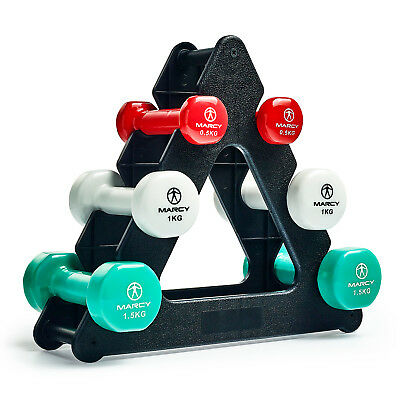 Marcy Tone Vinyl Dumbbell Set with Triangle Stand -  6kg & 12kg Sets Available