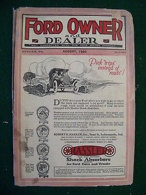 AUGUST 1920 FORD OWNER AND DEALER MAGAZINE model T Cars,Parts, Service, FMC