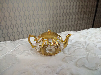 24k Gold Plated Tea Pot Figurine Decorative Ornament Decorated With Crystals
