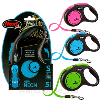 Flexi Neon Reflective Cord or Tape Retractable Dog Leads 3 & 5M