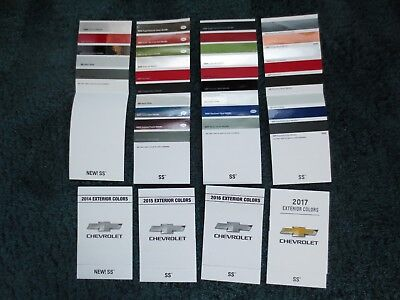 2017 2016 2015 2014 Set Of Chevy  Ss Nascar Style Dealer  Color Chip Brochures