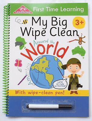 Children Wipe Clean Book School Learning World Map Educational Travel Geography