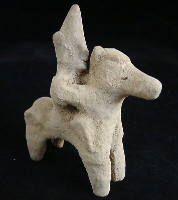 """Ancient Hittite Pottery Horse & Rider. C. 1000 BC. 4 5/8"""" tall, 4"""" wide."""