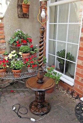French Carved Open Barleytwist Floor Lamp~Wine Table~Superb Statement Item Igwo