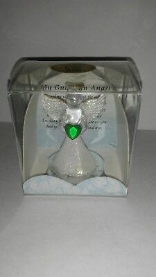 "Glitter skirt hand blown glass angel with heart ornament 2 3/4"" in box"