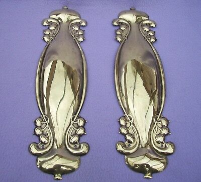 Matched Pair Of Genuine Art Nouveau Brass Finger Plates - Dated 1906