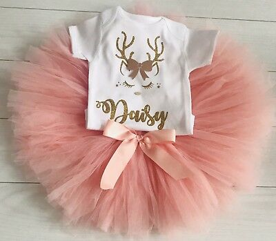 Luxury Girls My First 1st Christmas Party Outfit Personalised Top Blush Tutu Set