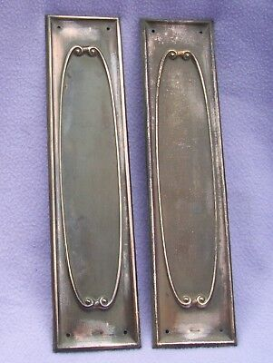 Matched Pair Of Genuine Art Nouveau Brass/copper Finger Plates - Dated 1913