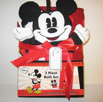 NEW Disney MICKEY MOUSE 2 Piece Bath Set (Towel & Wash Mitt) Jay Franco & Sons