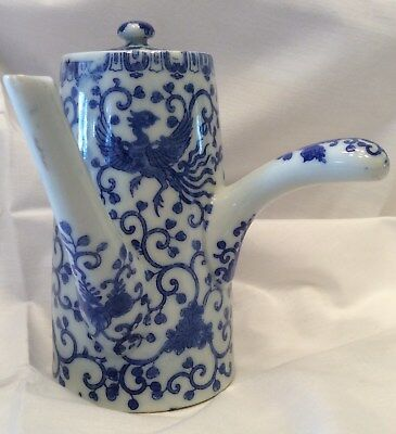 japanese blue and white china pot for hot cocoa or tea, hand painted