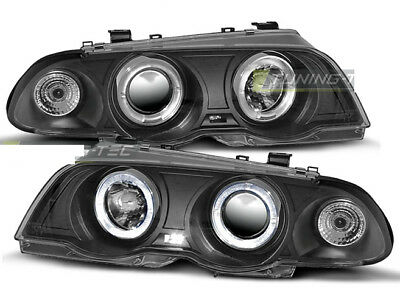 Coppia di Fari Anteriori per BMW E46 Serie 3 1998-2001 Angel Eyes Neri IT LPBM39