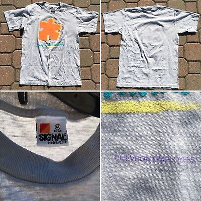 VINTAGE BUILDING THE United Way Chevron Employees 1986 Campaign T-Shirt 80s  M