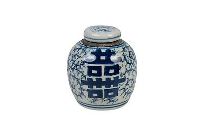 """Cute Blue and White Floral Double Happiness Porcelain Ginger Jar 4.5"""""""