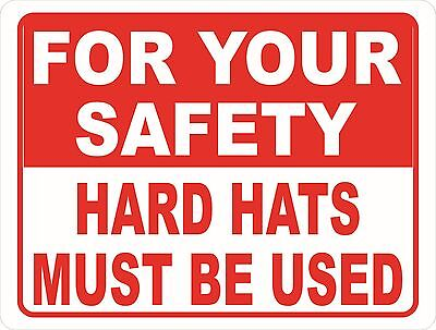 For Your Safety Hard Hats Must Be Used Sign. Size Options. Work Job Site Safety