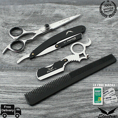 Electra Barber Razor Shaving Beard Bundle Salon Hairdressing Scissors +10 Blade