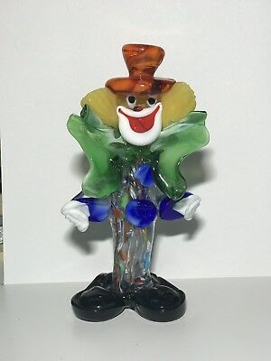 "Vintage Murano Style Blown Glass Clown Figurine Statue 7"" tall"