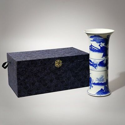 """Exquisite Chinese Blue And White Porcelain Figure Painting Vase Marks KangXi 9""""H"""