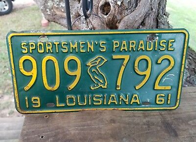 Vintage 1961 Louisiana Sportsmen's Paradise License Plate# 909 Pelican 792