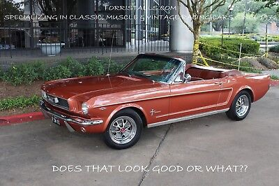 1965 Ford Mustang  1966 Ford Mustang Convertible - Emberglo with Pony Interior Loaded with Options