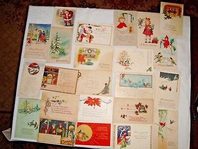 Lot of 50 Misc. Vintage Christmas & New Year Postcards  1 & 2 Cent Stamps