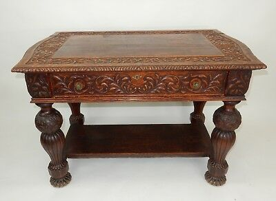 """Antique  Intricately carved  Oak Library Table 50.25""""  Circa 1860"""
