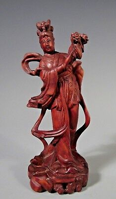 Fine China Chinese Wood Carved Guanyin Kwanyin w/ Inlaid Eyes ca 19-20th century