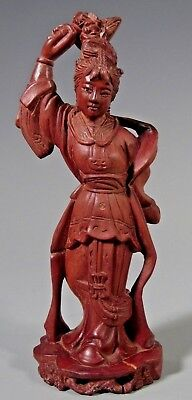 Fine China Chinese Wood Carved Guan Yin Kwan Yin w/ Inlaid Eyes ca 19-20th c