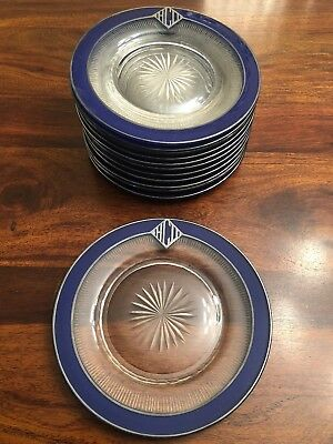 12 Antique Cobalt Blue Glass Sterling Silver Rimmed Plates Mono