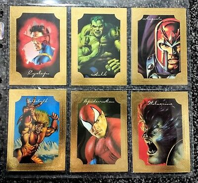 Complete set of 6 1996 Marvel Masterpieces Gold Foil Gallery cards