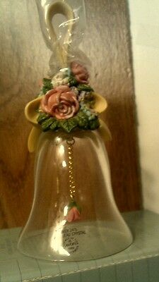 VTG 1989  Avon  FLORAL BOUQUET OVER  24% LEAD CRYSTAL BELL- NIB-FREE SHIPPING