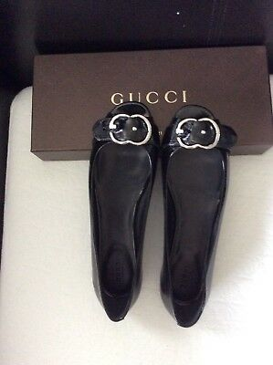 dedb5a4d76b Gucci Leather Salandia Peep Toe Flat Made in Italy Black patent Shoes Sz 39   550