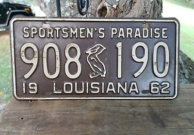 Vintage 1962  Louisiana Sportsmen's Paradise License Plate# 908 Pelican 190