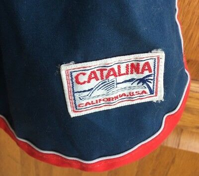 CATALINA CALIFORNIA USA men 40 blue swim short surf trunk bathing suit VTG 1970s
