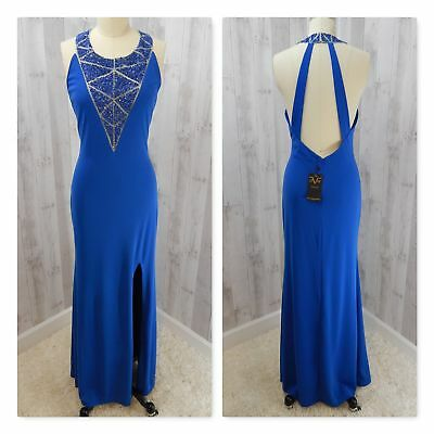 NWT Versace 19V69 Italia GOWN~Royal Blue Beaded/Sequins Illusion Prom Fitted M/L
